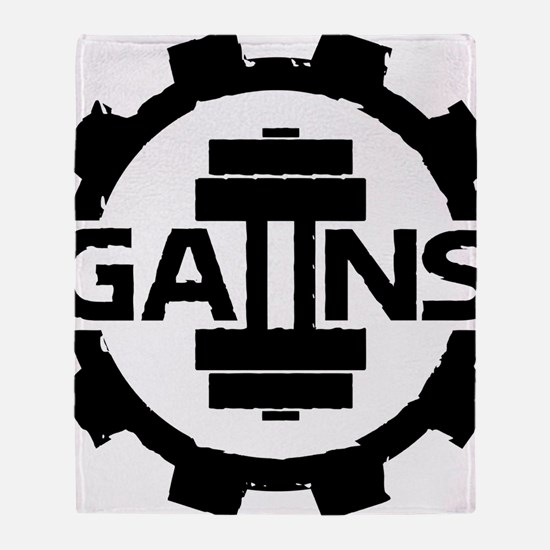 GAIINS Cog Logo Black Throw Blanket