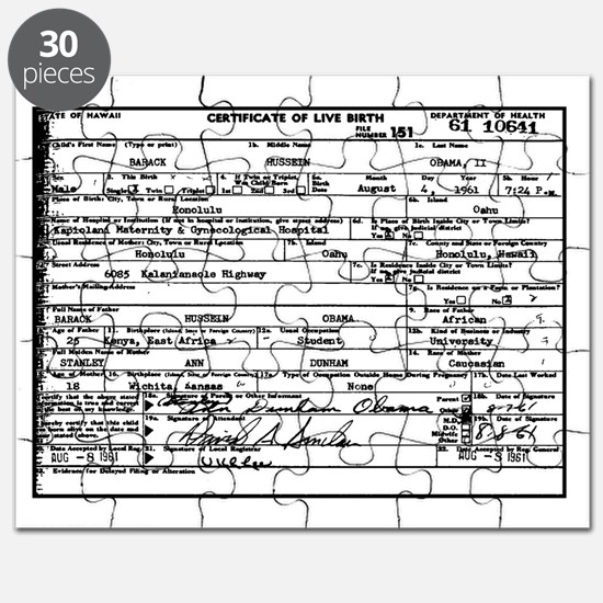 Obama Birth Certificate Puzzle