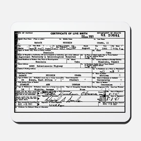 Obama Birth Certificate Mousepad