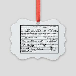 Obama Birth Certificate Picture Ornament