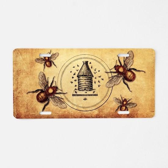 Vintage Bees Aluminum License Plate