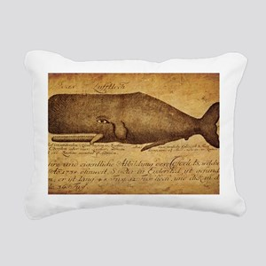 Vintage Whale Print Rectangular Canvas Pillow
