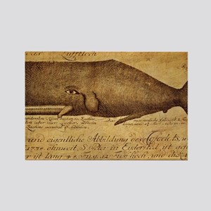 Vintage Whale Print Rectangle Magnet