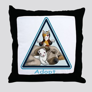 Adopt Animals Throw Pillow