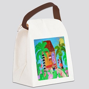Yard Flamingos Canvas Lunch Bag
