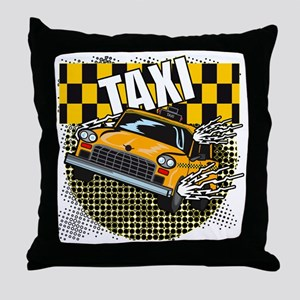 TAXI-LIGHT-TEE-DESIGN Throw Pillow