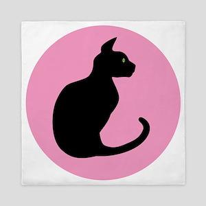 Silhouette of  black cat Queen Duvet