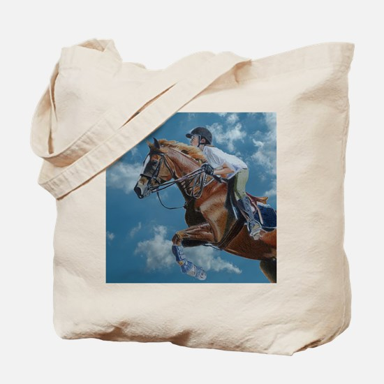 Horse Jumper in the Clouds Tote Bag