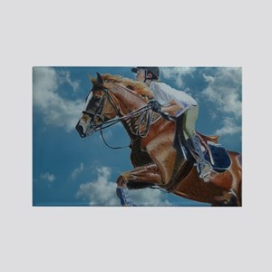 Horse Jumper in the Clouds Rectangle Magnet