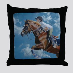 Horse Jumper in the Clouds Throw Pillow