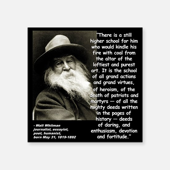 "Whitman School Quote 2 Square Sticker 3"" x 3"""
