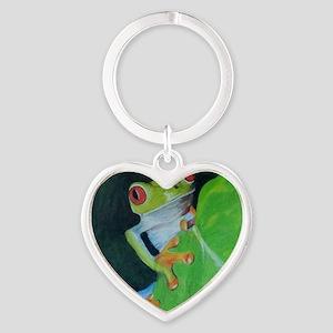 Peekaboo Tree Frog Heart Keychain