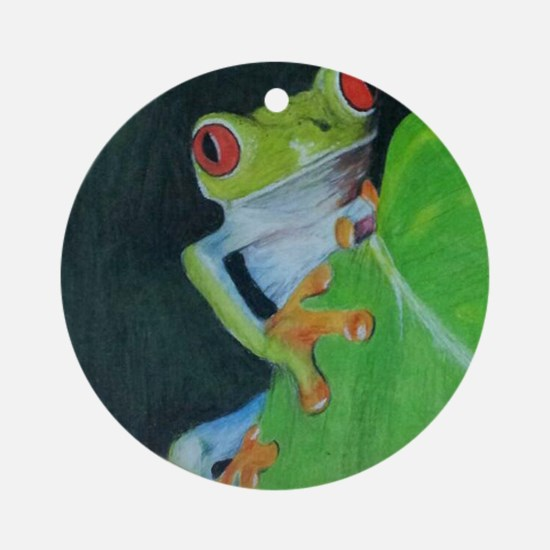 Peekaboo Tree Frog Round Ornament