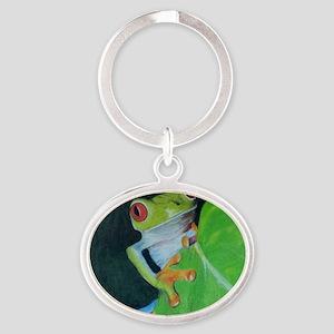 Peekaboo Tree Frog Oval Keychain