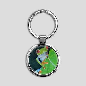 Peekaboo Tree Frog Round Keychain