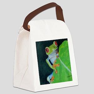 Peekaboo Tree Frog Canvas Lunch Bag