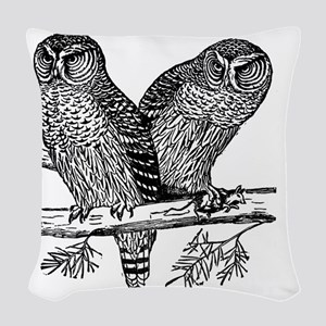 Two Owls Woven Throw Pillow