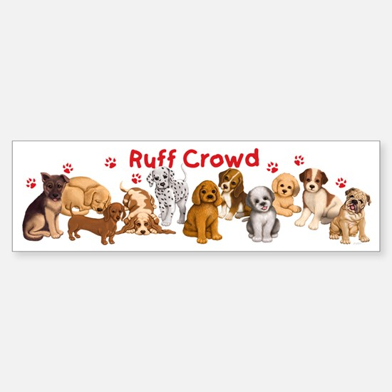 Dogs_Ruff_Crowd_B Sticker (Bumper)
