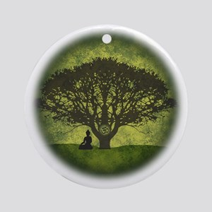 Buddha Beneath the Bodhi Tree Round Ornament