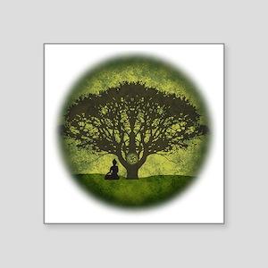"""Buddha Beneath the Bodhi Tr Square Sticker 3"""" x 3"""""""