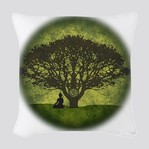 Buddha Beneath the Bodhi Tree Woven Throw Pillow