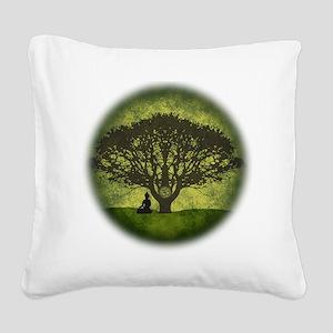 Buddha Beneath the Bodhi Tree Square Canvas Pillow