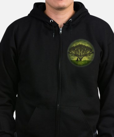 Buddha Beneath the Bodhi Tree Zip Hoodie (dark)