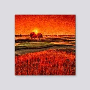 "Fiery Sunrise Over the 16th Square Sticker 3"" x 3"""
