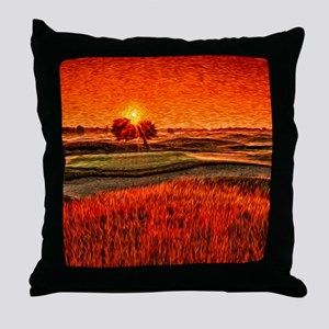 Fiery Sunrise Over the 16th Green Sho Throw Pillow