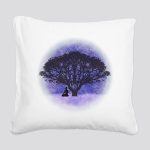 Buddha Beneath the Bodhi Tree Square Canvas Pillow