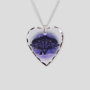 Buddha Beneath the Bodhi Tree Necklace Heart Charm