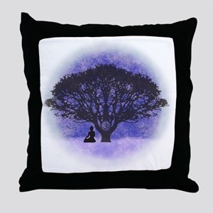 Buddha Beneath the Bodhi Tree-Light Throw Pillow