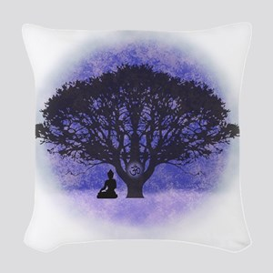 Buddha Beneath the Bodhi Tree- Woven Throw Pillow