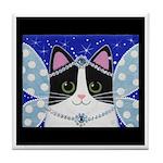 Black & White Tuxedo Cat Fairy Princess ART Tile