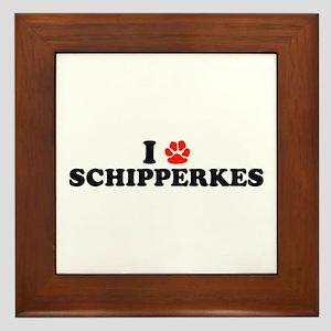 I Heart (Pawprint) Schipperkes Framed Tile