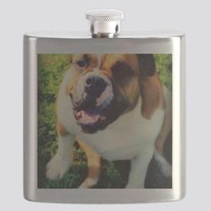 Red English Bulldog Flask