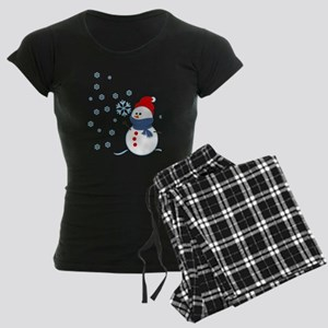 Cute Snowman Women's Dark Pajamas