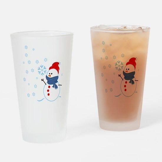 Cute Snowman Drinking Glass