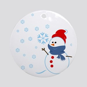 Cute Snowman Round Ornament