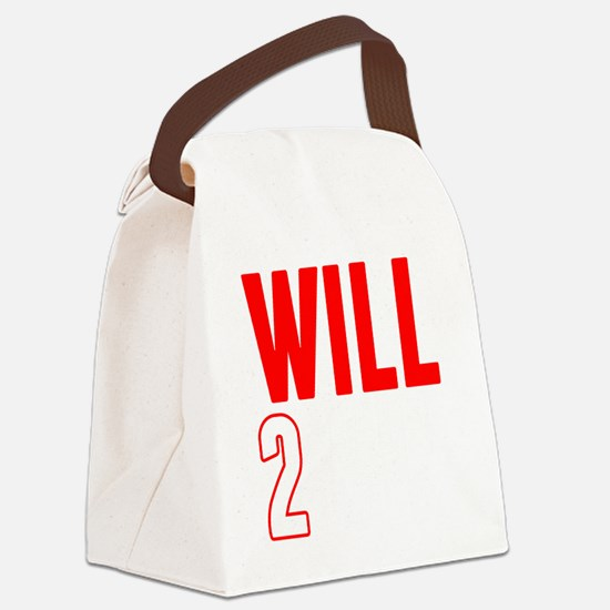 Will2Win Red and White Canvas Lunch Bag