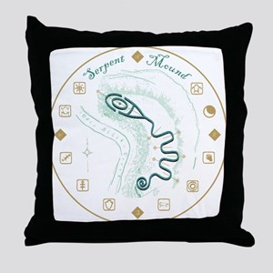 Serpent Mound Spiral Throw Pillow