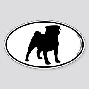 Pug SILHOUETTE Oval Sticker