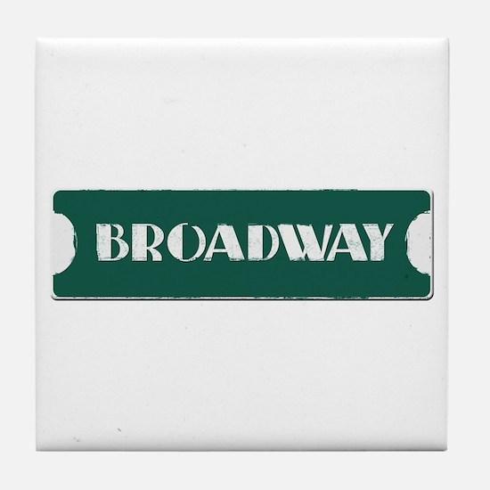 Broadway Street Sign Tile Coaster