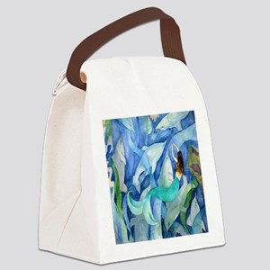Dolphin  Mermaid Party Canvas Lunch Bag