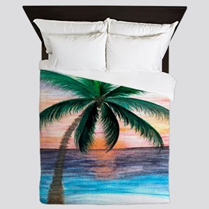 Sunset Palm Tree Queen Duvet