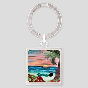 Aloha Mermaid Square Keychain