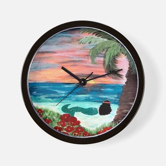 Aloha Mermaid Wall Clock