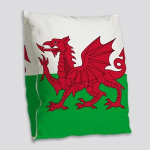 Welsh Flag Of Wales Burlap Throw Pillow