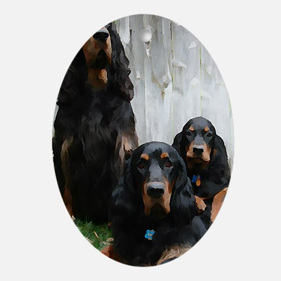 Gordon Setter Generations Painting Oval Ornament