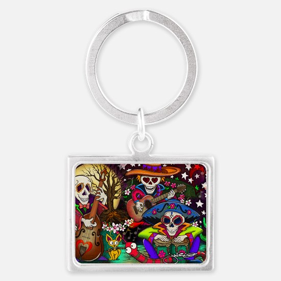 Day of the Dead Music art by Ju Landscape Keychain